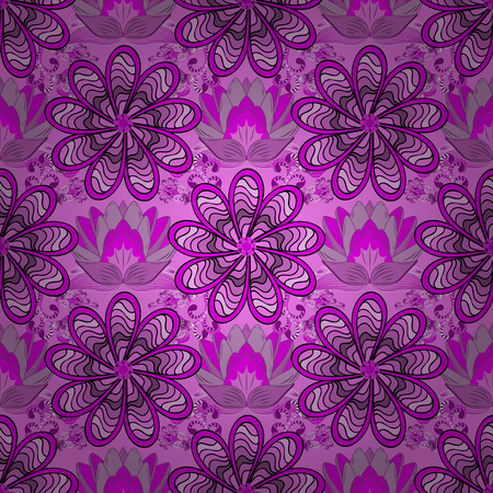 Vector illustration. In asian textile style on pink, magenta and violet colors. Floral seamless pattern with watercolor flowers.