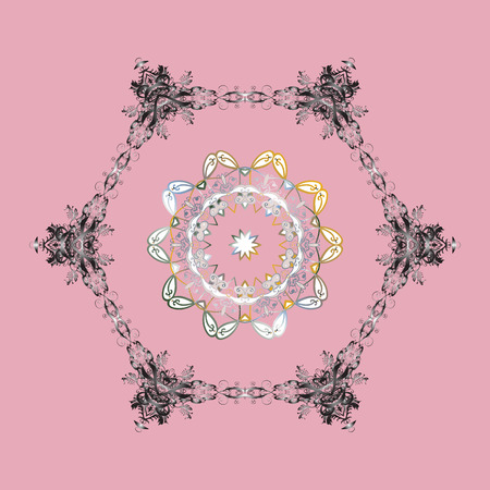 Isolated nice snowflakes on colorful background. Raster illustration. Snowflakes radial pink, gray and neutral colors.