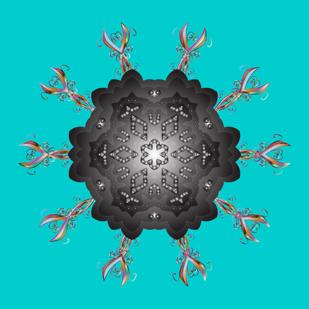 Fine snowflake. Raster illustration. Abstract winter blue, gray and brown ornament. Round raster snowflake. Illustration