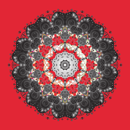 Snowflakes pattern raster illustration flat design on red background.