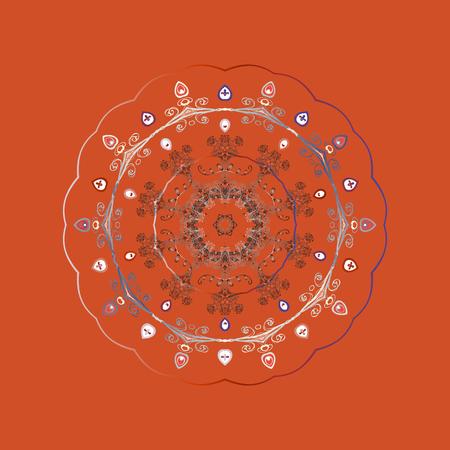 Snowflake mandala design icon on orange background, raster illustration. Illustration