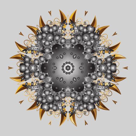 Snowflake mandala design icon on gray background, raster illustration.
