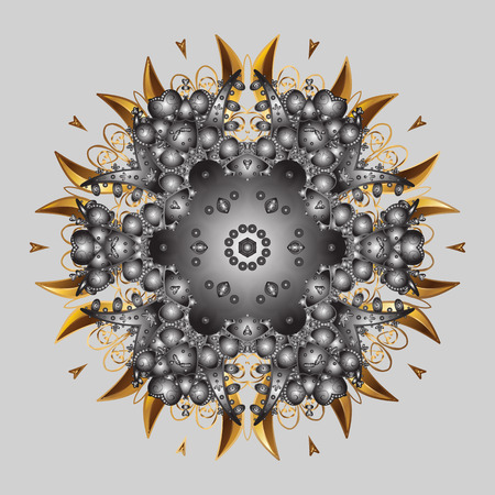 Snowflake mandala design icon on gray background, raster illustration.