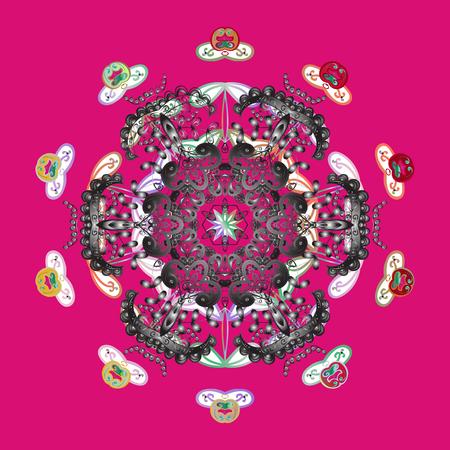 Snowflake mandala design icon on pink background, raster illustration.