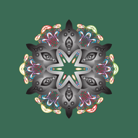 Isolated cute snowflakes on colorful background. Raster illustration. Green, gray and white colors with snowflakes.
