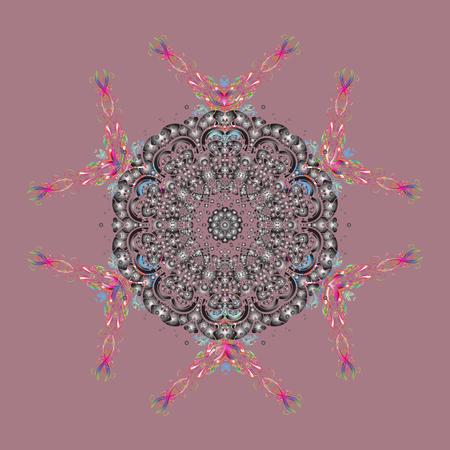 Snowflakes icon in doodle sketch lines. Winter snow December season. Raster illustration.