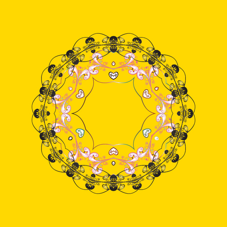 Raster illustration. Snowflake isolated on yellow, gray and pink colors. Snowflake Icon. Raster illustration. Illustration