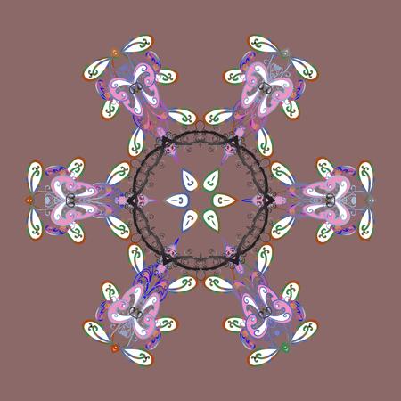 Raster illustration. Neutral, white and blue snowflakes on a neutral, white and blue colors. Snowflake raster pattern. Isolated cute snowflakes on colorful background.