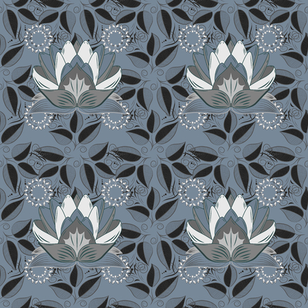 Raster Fashionable fabric pattern. Colour Spring Theme seamless pattern Background. Cute flowers pattern with neutral, gray and blue colors. Flat Flower Elements Design.