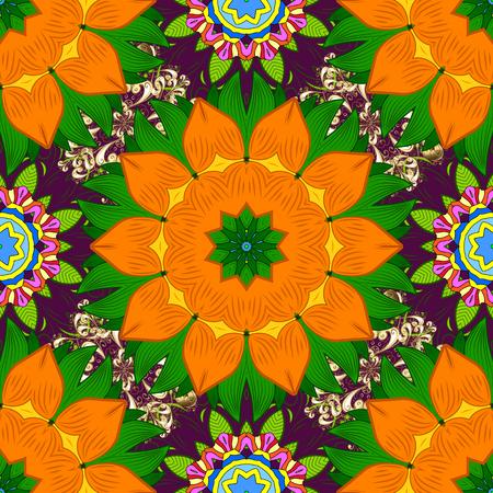 Orange, green and purple colors. Raster Mandala. Tiled mandala design, best for print fabric or papper and more. Boho style flower seamless pattern. Illusztráció