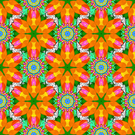 Summer seamless pattern with stylized flowers. For wallpaper, web page. Orange, green and yellow. Raster ornate seamless texture, pattern with abstract floral mandalas on orange, green, yellow colors. Ilustracja