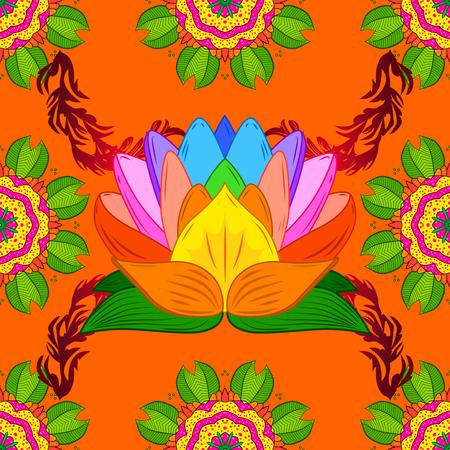 Mandala on orange, green and yellow colors. Spiritual and ritual symbol of Islam, Arabic, Indian religions. Raster Round Ornament Pattern. Geometric circle element in glod colors.