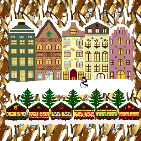 Christmas and Happy New Year greeting card. Flat Raster illustration. Winter house.