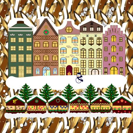 Noël et bonne année carte de voeux . illustration plat. carte d & # 39 ; hiver. Banque d'images - 98014197