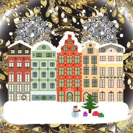 Winter nature landscape. Raster illustration. Fabric print. Fir-trees. Winter city with trees, cute houses, sun.