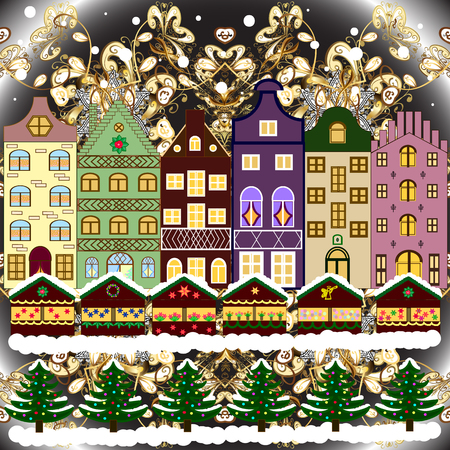Greeting card. Raster illustration. Village in Christmas, banner on background with snow and snowflakes. Ilustração