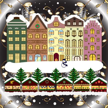 Evening village winter landscape with snow cove houses. Background. Christmas winter scene. Raster illustration. Ilustração