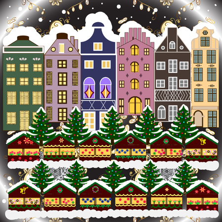 Evening city winter landscape with snow cove houses and christmas tree. Holidays Raster illustration. Ilustrace