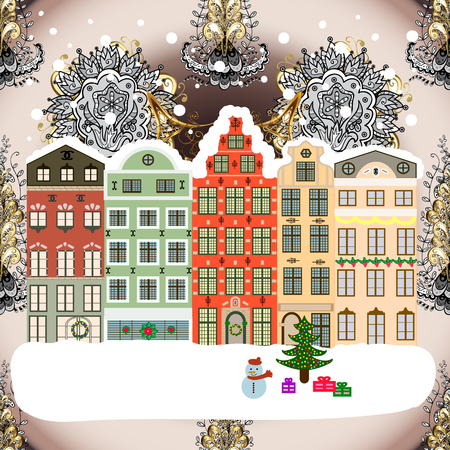 Winter village landscape. Raster illustration. Background.