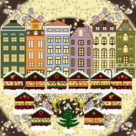 Christmas tree and snowman. A house in a snowy Christmas landscape at night. Raster illustration. Concept for greeting or postal card. Illustration