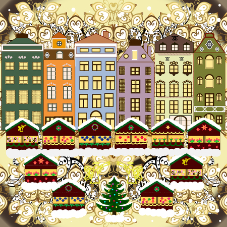 Raster illustration. A house in a snowy Christmas landscape at night. Concept for greeting or postal card. Christmas tree and snowman.
