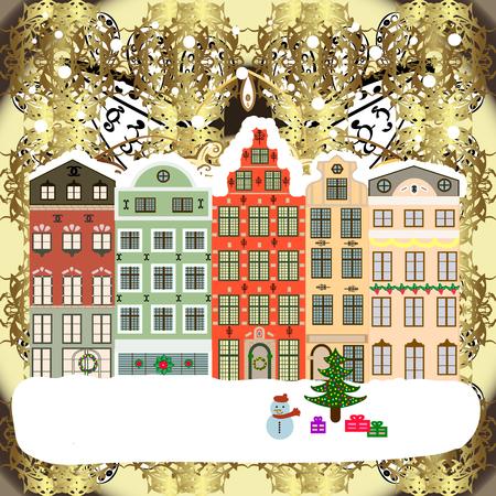 Snowy street Raster illustration. Flat design Christmas card Happy Holidays banner. Urban winter landscape. 일러스트