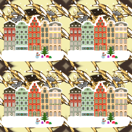 Christmas landscape flat. Greeting card Raster illustration with houses. Banque d'images - 97988014
