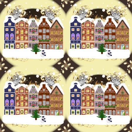 Raster illustration. Night raster Winter, Christmas urban landscape with colorful houses. Иллюстрация