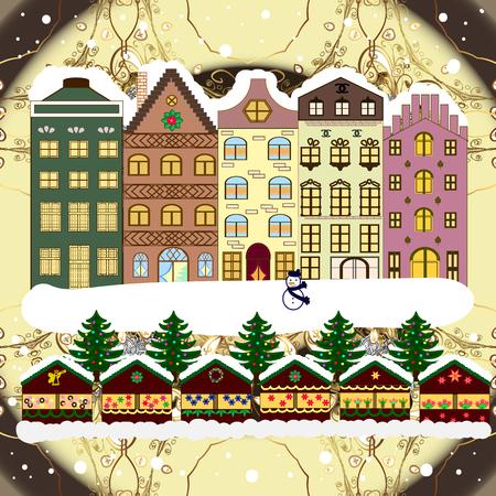 Raster illustration. Christmas landscape flat. Greeting card. 일러스트