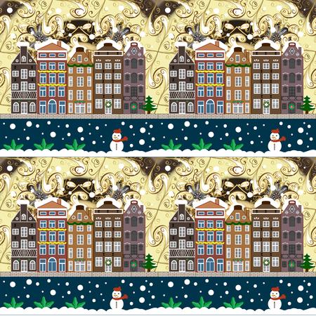 Urban winter landscape. Snowy street. Raster illustration. Flat design. Christmas card Happy Holidays banner.