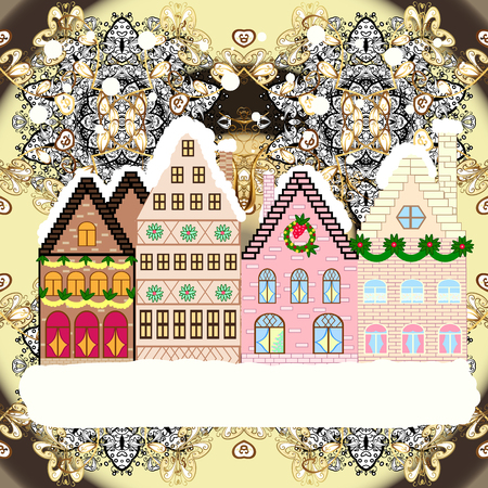 Evening city winter landscape with snow cove houses and christmas tree. Holidays Raster illustration. Illustration