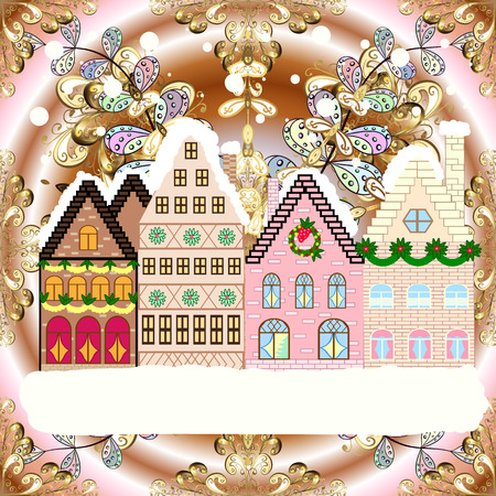 Village in Christmas, banner on background with snow and snowflakes. Greeting card Raster illustration.