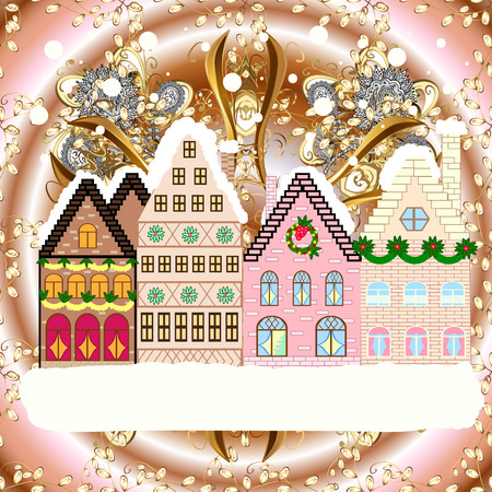 Raster illustration. Village winter landscape with snow cove houses and christmas tree with Christmas presents.