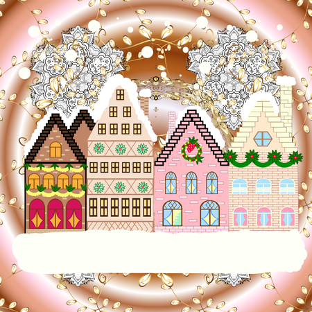 Concept for greeting or postal card. Christmas tree and snowman. Raster illustration. A house in a snowy Christmas landscape at night.