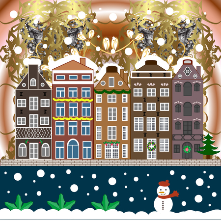 Evening city winter landscape with snow cove houses and christmas tree Holiday illustration.
