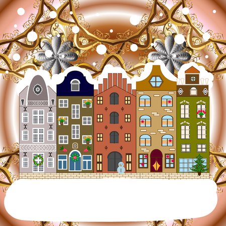 Winter city with trees, cute houses. Raster illustration. Landscape with nature and houses. Over a background. Holidays Raster illustration. Nature landscape. Winter is coming.