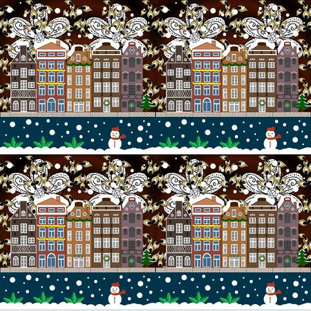 Night raster Winter, Christmas urban landscape. Raster illustration.