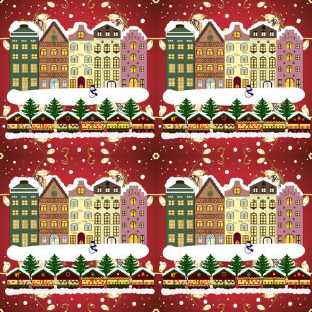 Raster illustration of Holiday background with a christmas tree and houses over a background. Banque d'images - 97990786