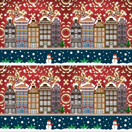 Raster illustration. Winter village night Christmas background. Иллюстрация