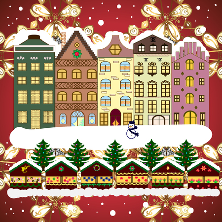 A house in a snowy Christmas landscape at night. Raster illustration. Christmas tree and snowman. Concept for greeting or postal card. Ilustração