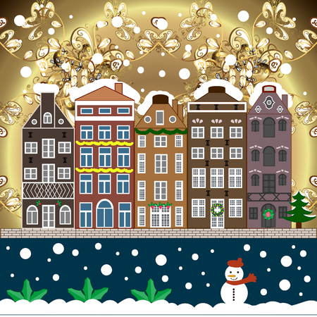 Christmas winter scene. Background. Raster illustration. Evening village winter landscape with snow cove houses.