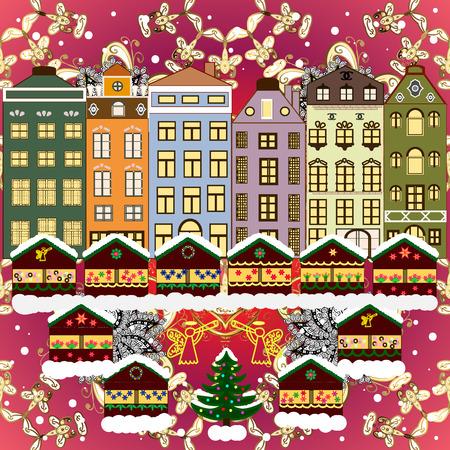 Evening city winter landscape with snow cove houses and christmas tree. Holidays Raster illustration. Ilustração