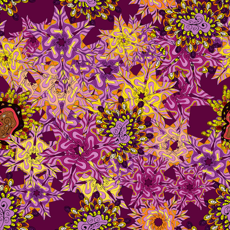 Vector - stock. Seamless Beautiful fabric pattern. Doodles cute pattern. Nice background. Purple, pink and yellow on colors. Illustration