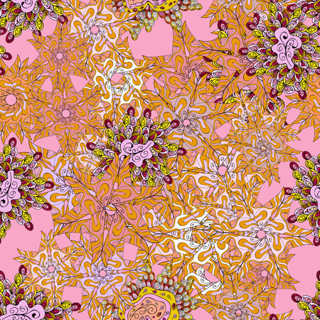 Doodles yellow, pink and neutral on colors. Vector. Seamless Beautiful fabric pattern.