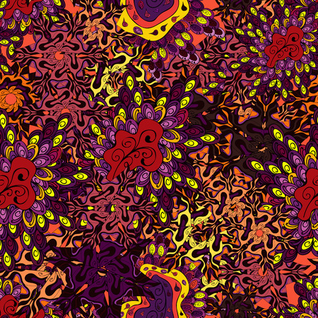 Doodles pattern. Vector. Tender fabric pattern. Black, purple and orange on colors. Seamless Abstract interesting background. Ilustração