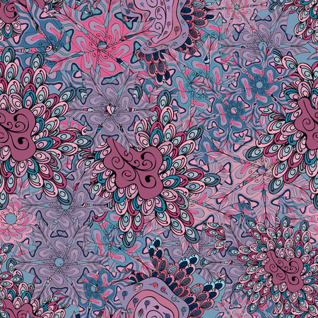 Doodles cute pattern. Nice background. Neutral, blue and pink on colors. Vector - stock. Seamless Beautiful fabric pattern. Çizim