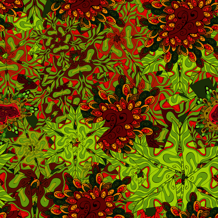 Vector illustration. Seamless pattern Abstract nice background. Doodles pattern for wrapping paper. Green, red and black on colors.