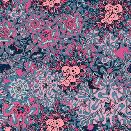 Vector texture. Illustration. Seamless pattern Beautiful fabric background. Doodles on a blue, pink and neutral colors.
