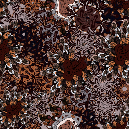Ñolorful pattern. Vector illustration. Seamless Flat design with abstract doodles on black, brown and gray colors background.  イラスト・ベクター素材