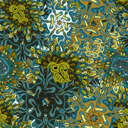 Vector illustration. Blue, yellow and black on colors. Seamless pattern Abstract nice background. Doodles pattern for wrapping paper. Illustration